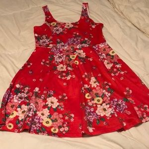 Bright red floral dress